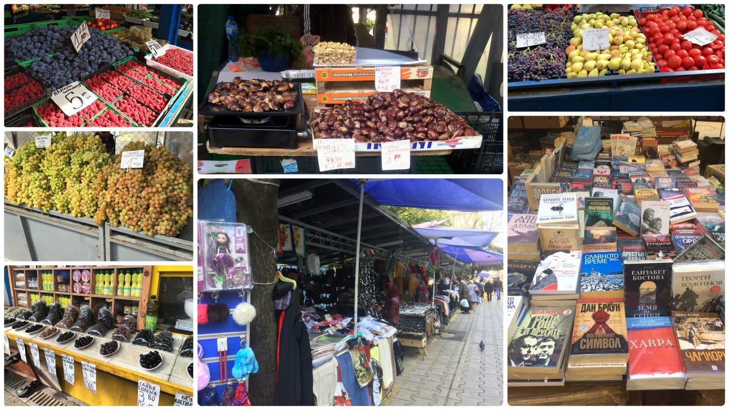 We found wonderful markets all over Sofia, Bulgaria. Everything from food, to books and clothing could be found at different markets throughout the city.