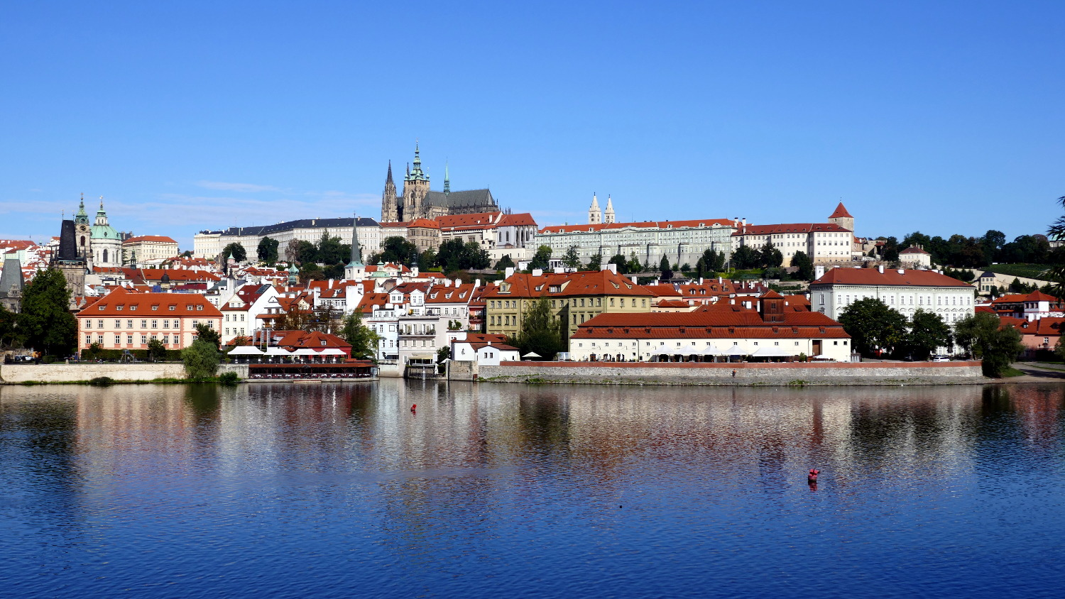 Prague Castle and Vltava River, Old Town, Prague, Czech Republic