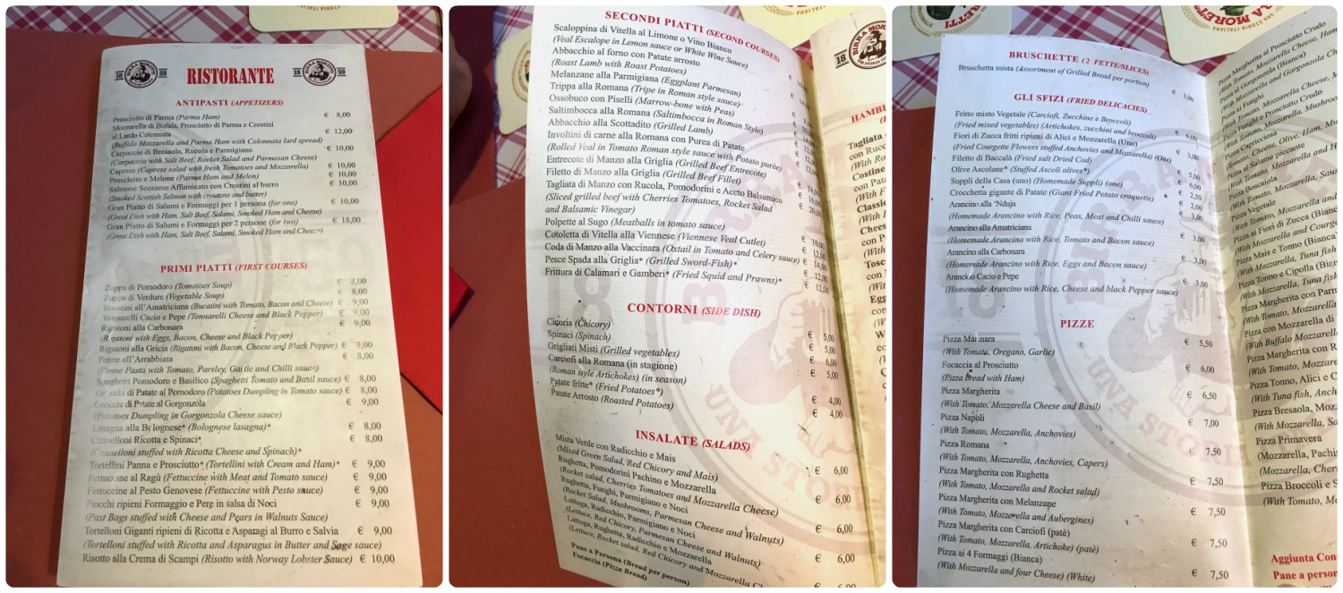 The food menu from Wanted in Rome, Italy was long but we knew exactly what we wanted to eat!