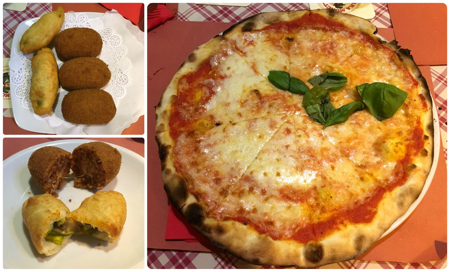 Our food was delivered and hands were shooed away so that we could take these pictures! Wanted restaurant in Rome, Italy.