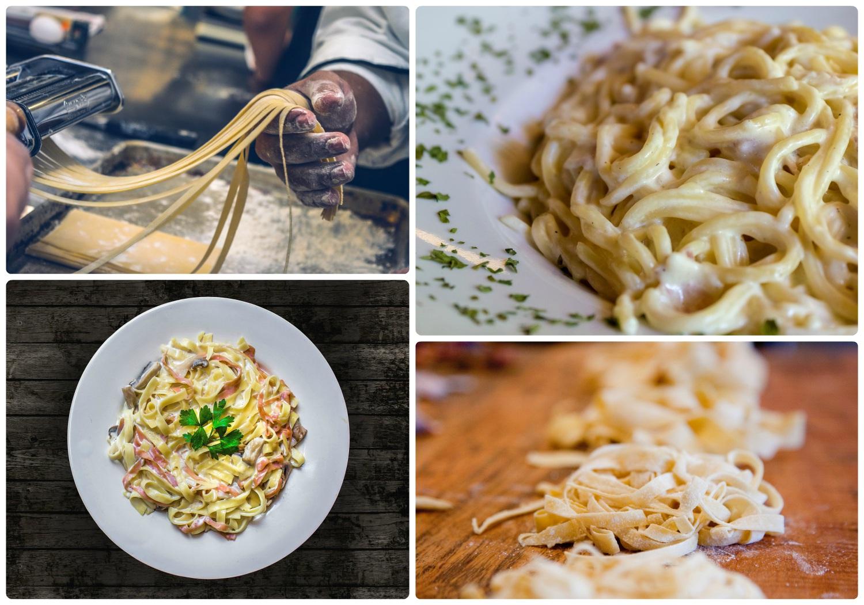 Cacio e Pepe carbonara pasta roman Rome Italy traditional food kitchen making fresh pasta homemade pasta