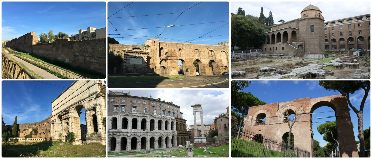 Ancient Ruins in Rome, Italy might be a thing of pause for most visitors, but for locals, it's simply a part of everyday life. In walking the city, we found many sites that weren't on our itinerary, but were very impressive! Clockwise (from the top left): Giardini di via Carlo Felice, traffic is routed through (not around) Porta Maggiore, Sacred Area of Sant'Omobono, ruins near the Colosseum, Marcello Theater, Porta Maggiore.