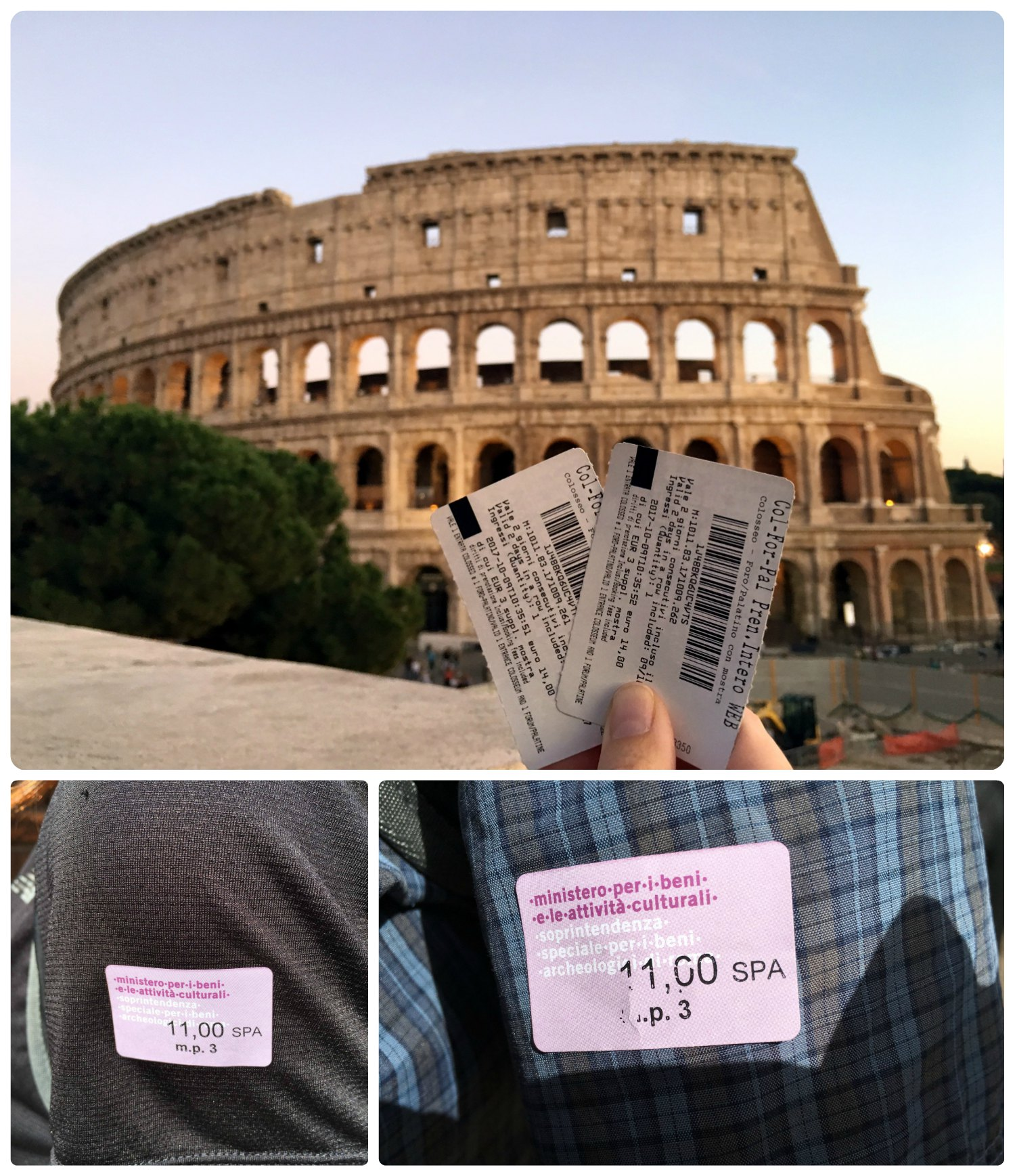 Roman Colosseum entry tickets (top) and our Underground Tour tickets/stickers (bottom).