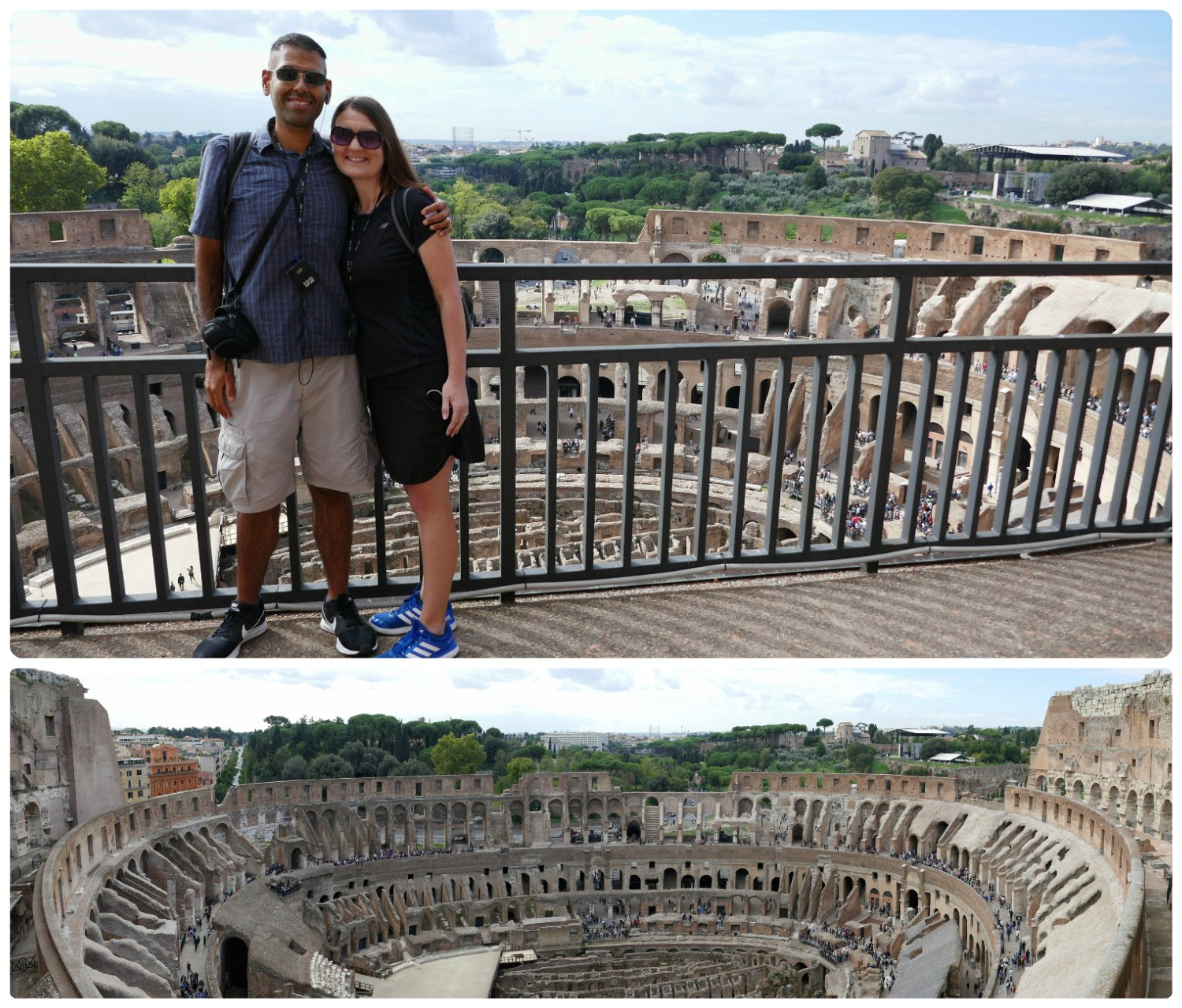 Us at the top/fifth level (Belvedere/Panoramic View) of the Roman Colosseum and a panorama of the interior of the Roman Colosseum.