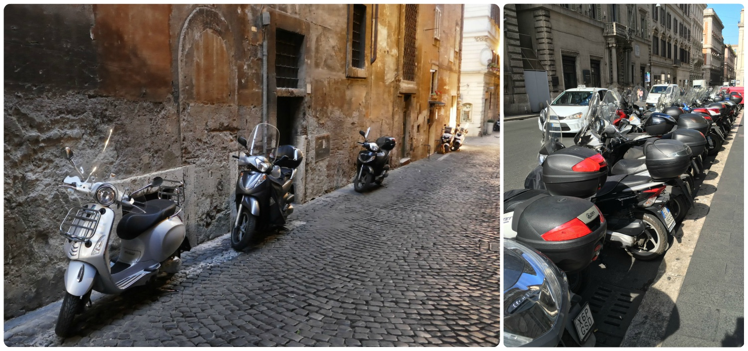 Streets in Rome, Itlay are lined with scooters!