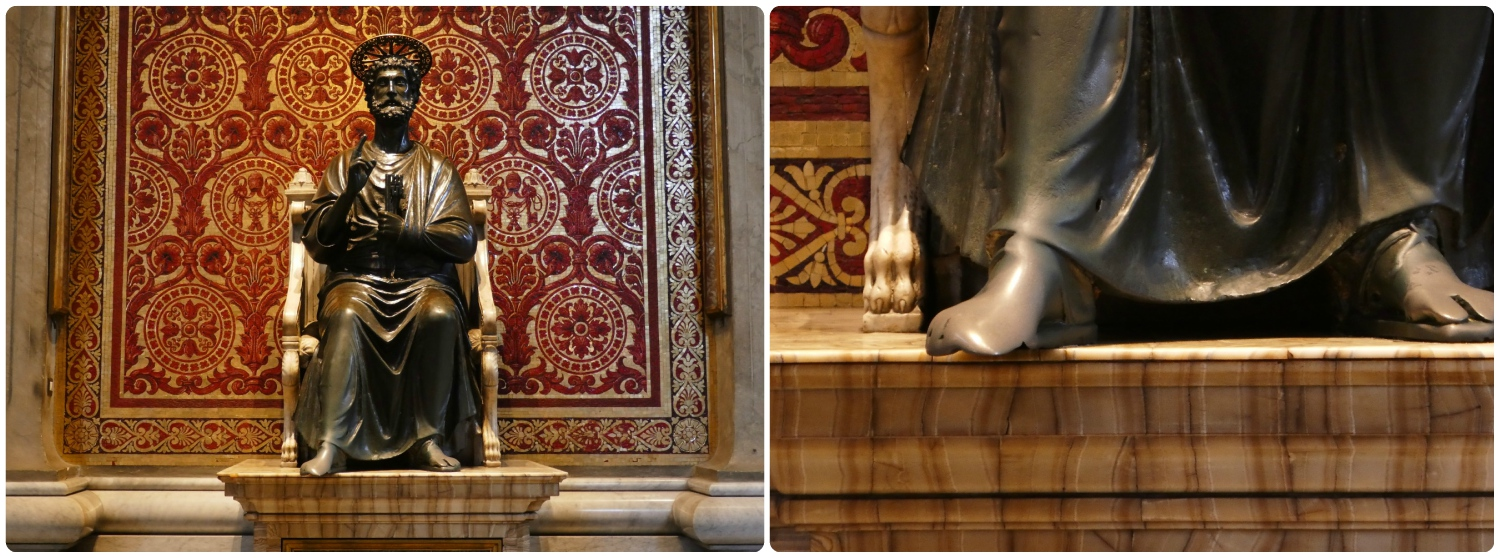 Statue of St. Peter by Arnolfo di Cambio in the Vatican's St. Peter's Basilica. In the right photo, notice the wearing on the statue's feet from the touch of visiting pilgrims.
