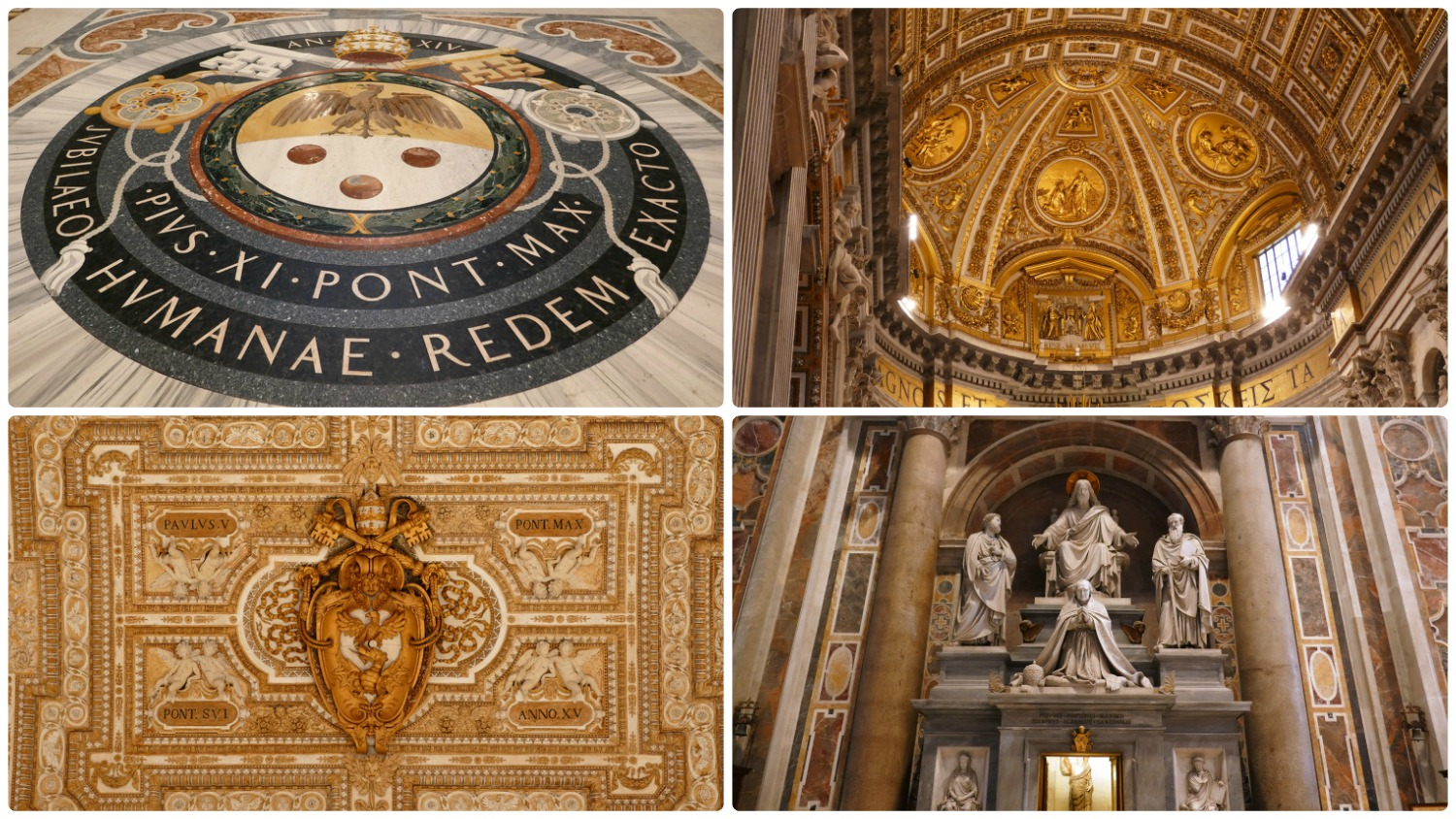 The interior of St. Peter's Basilica in Vatican City State. From the floor (top left) to the arched ceilings (top right), the decoration and gold detail in St. Peter's Basilica is breathtaking!
