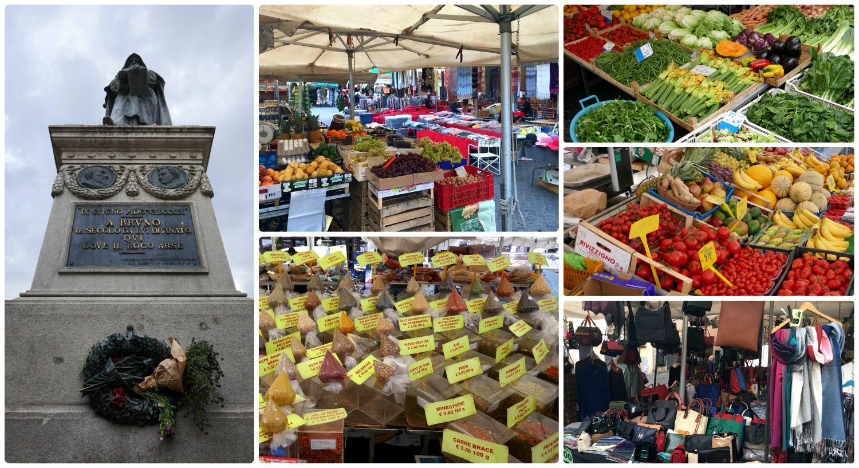 Campo de' Fiori Market, Square and statue of Bruno Giordano in Rome,Italy.