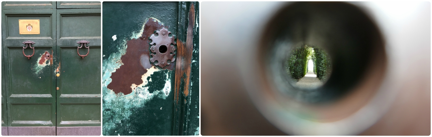 The keyhole on the gate at the top of Aventine Hill in Rome,Italy has been well worn by the touch of countless visitors.