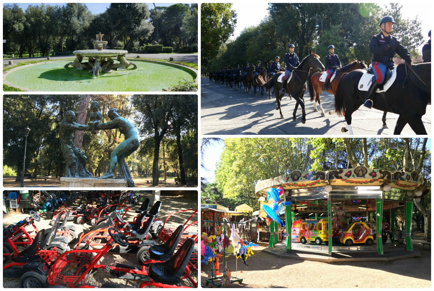 Villa Borghese Gardens in Rome, Italy is rather large, offering something fun for the whole family!