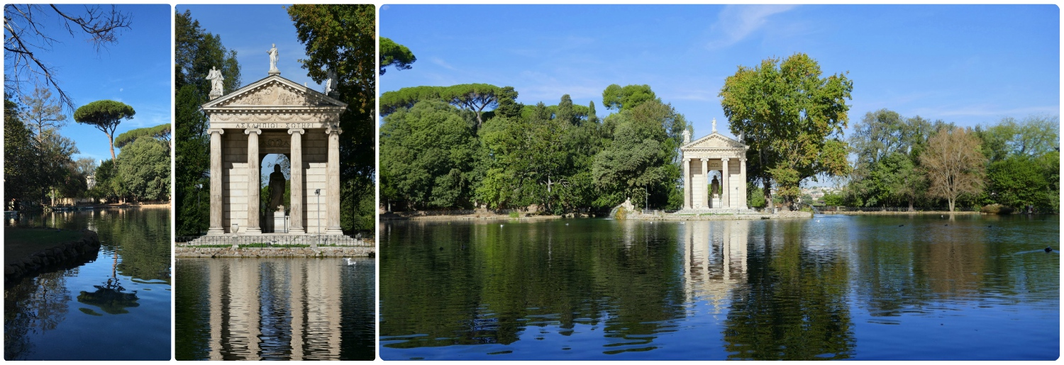 Temple of Asclepius in Villa Borghese Gardens in Rome, Italy.