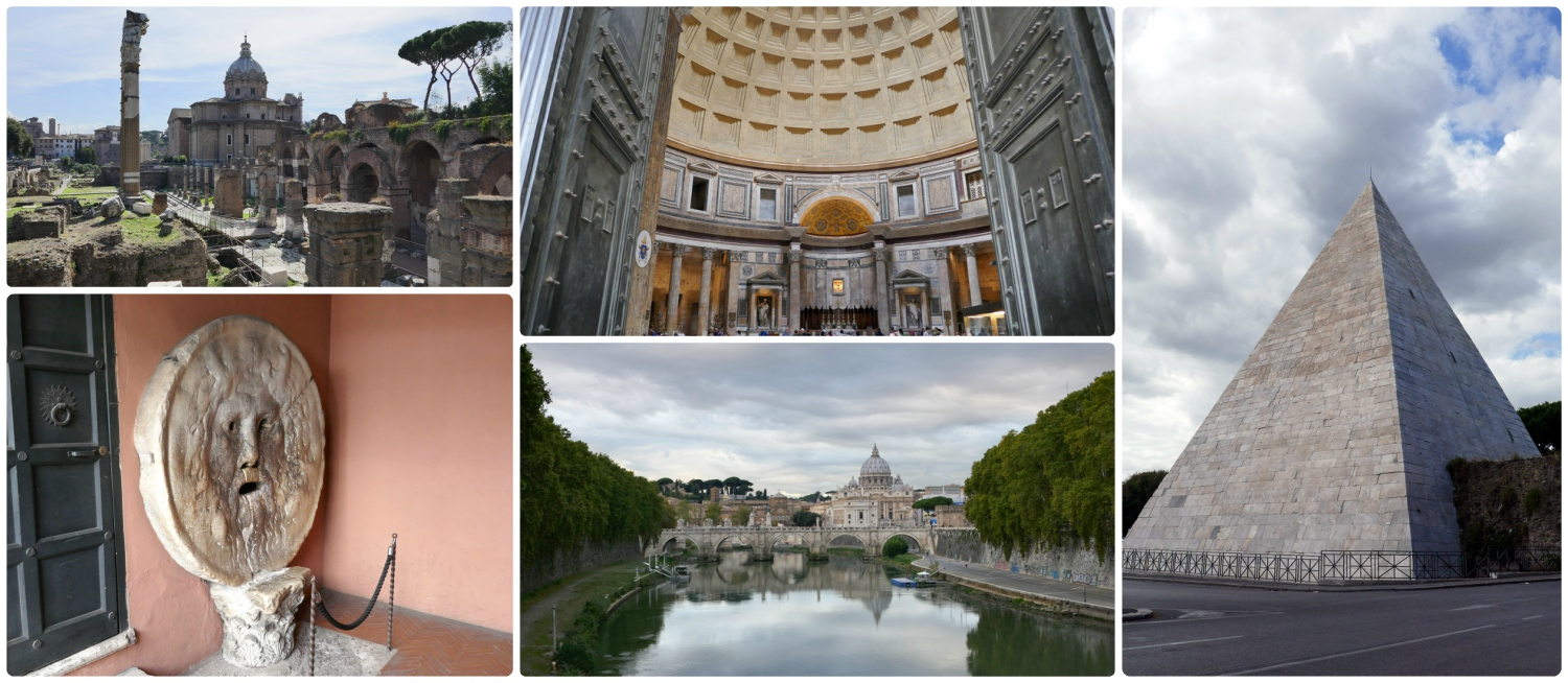 There are so many things to see in Rome, Italy! Clockwise (from the top left): Trajan Forum, the Pantheon, Pyramid of Cestius, the Tiber River with St. Peter's Basillica in the background, Bocca della Verita.