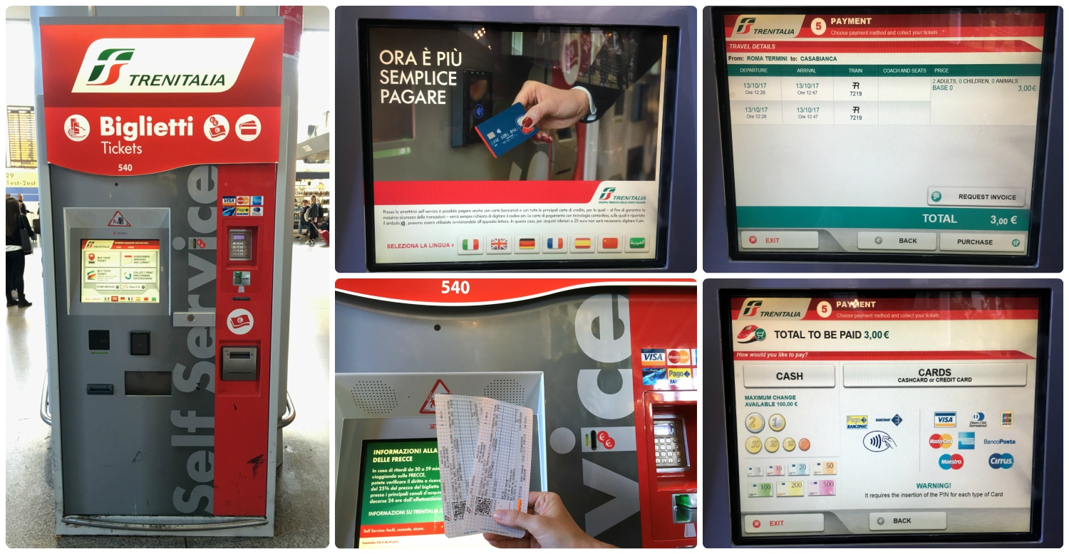 Ticket machines at Termini Station in Rome, Italy. Clockwise (from the top left): Ticket machine at Termini Station, touch screen with seven different language options, purchasing two tickets for just €3, payment options available include cash and credit card (even American Express), our train tickets!