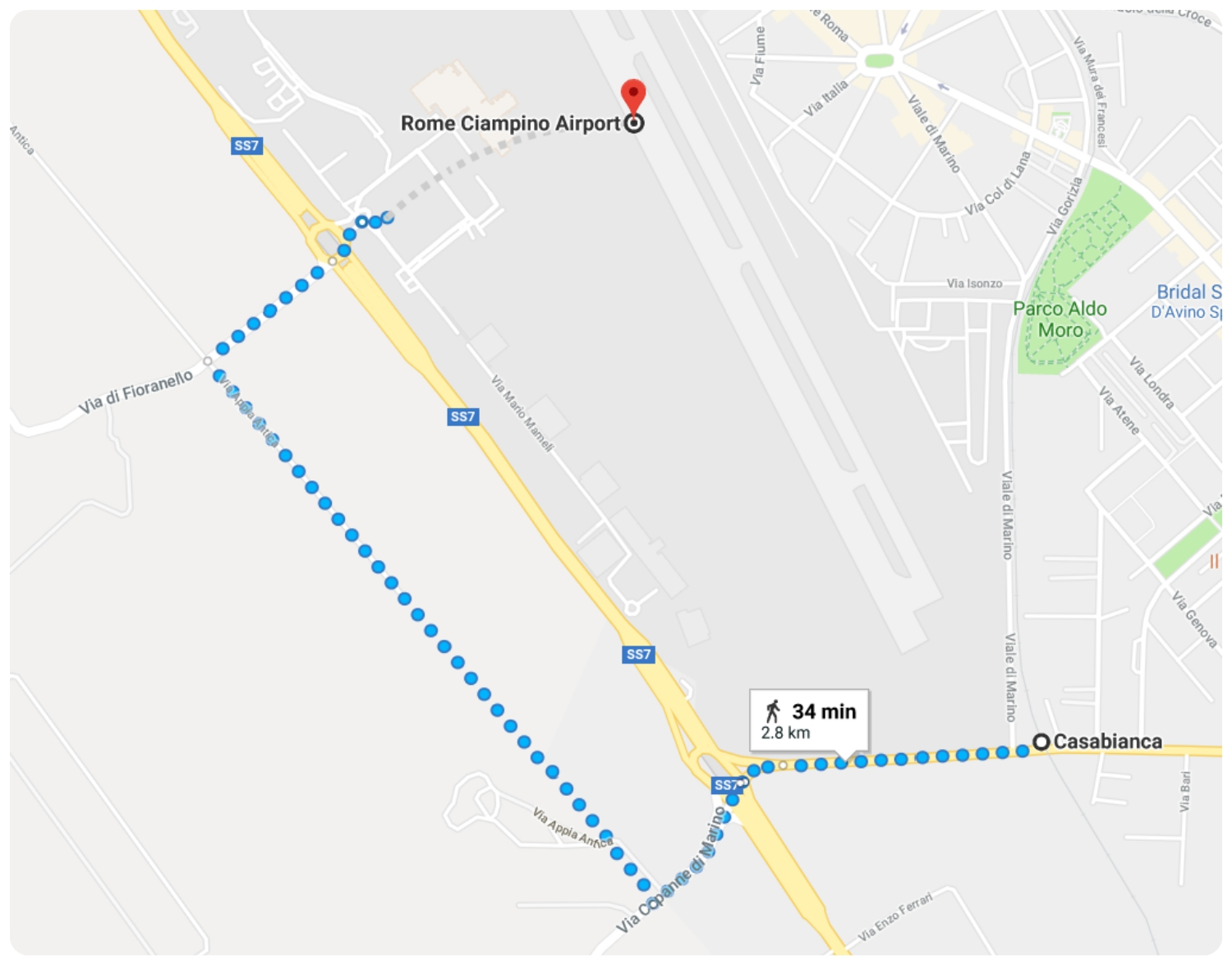 The walk from Casabianca Train Station to Rome Ciampino Airport (CIA) is just 1.7 miles.