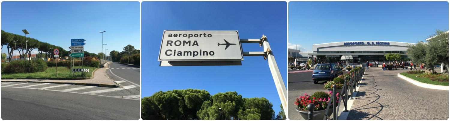 At the end of Via de Fioanello you'll come to a roundabout. Continue straight ahead and you'll be at Rome Ciampino Airport (CIA).