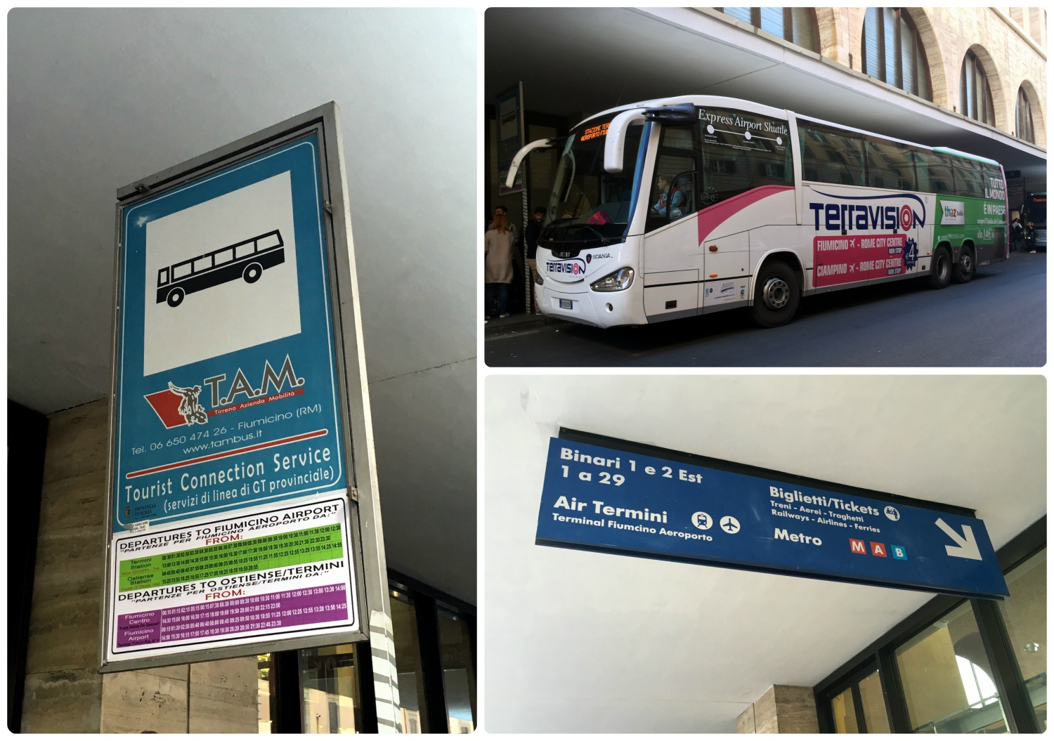 At Termini Station in Rome, Italy the bus to and from the airport drops off on either Via Marsala or Via Giovanni Giolitti. Look for signs to find the correct pick-up location.