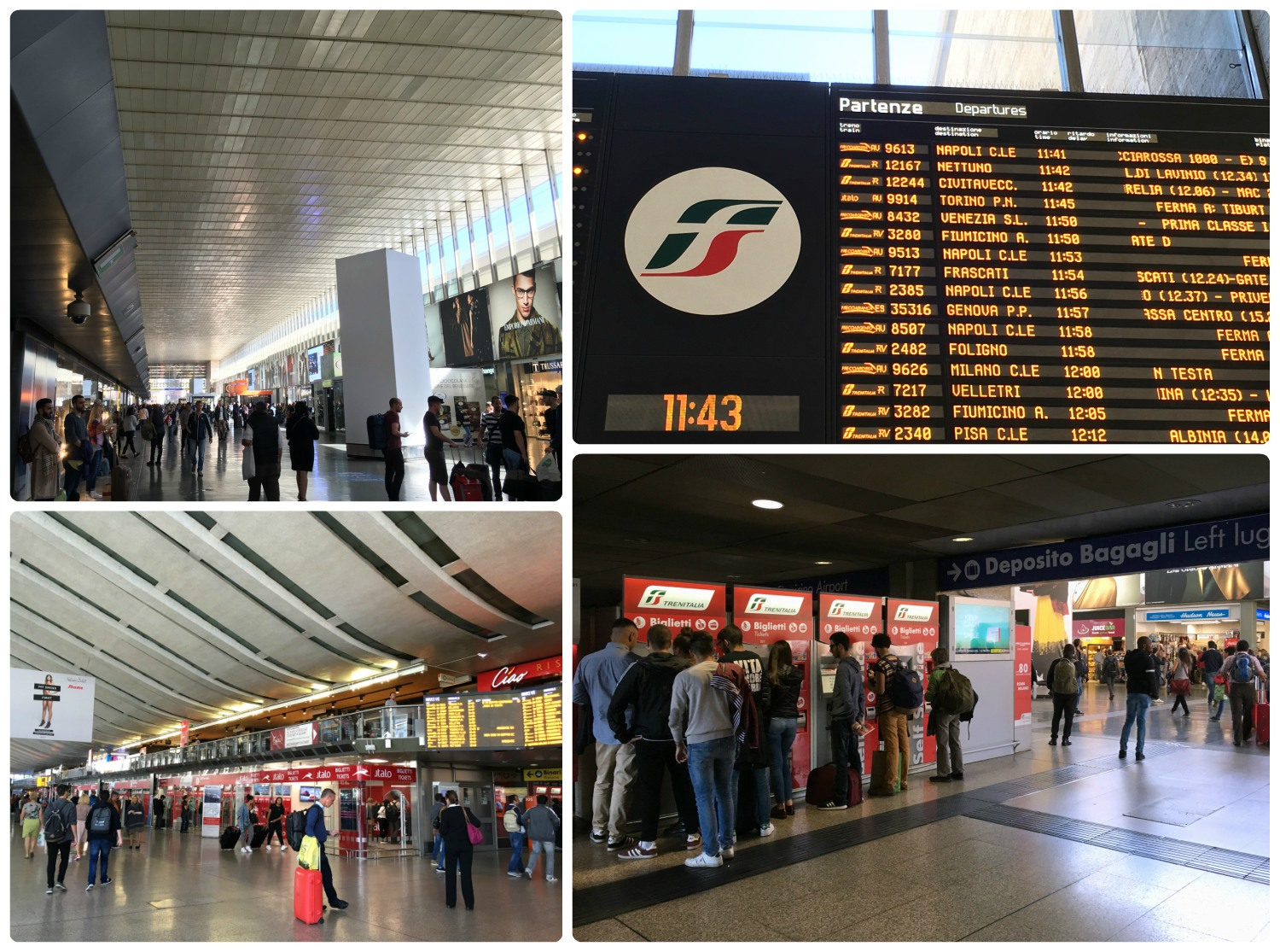 Termini Station in Rome, Italy is a main transportation hub.