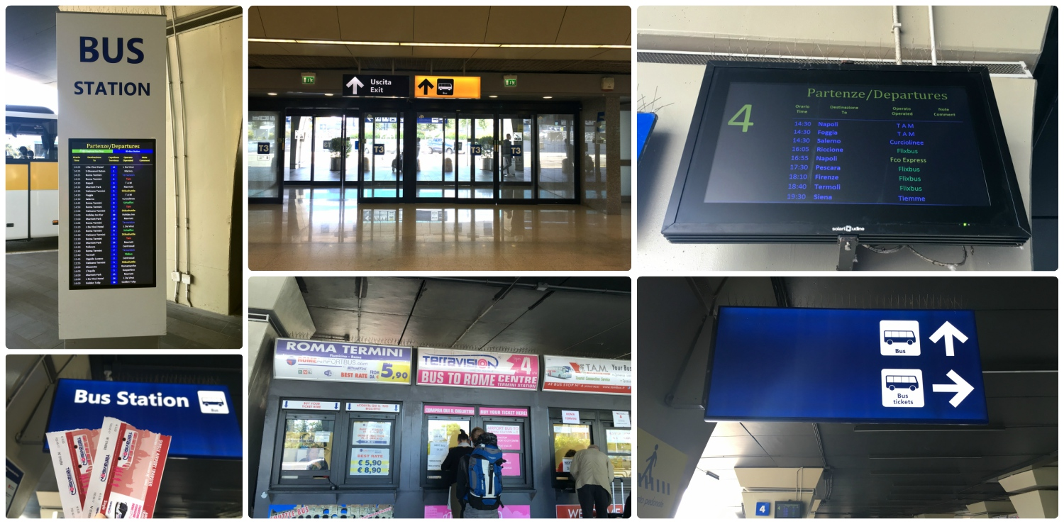 To find the bus terminal at Rome's Leonardo da Vinci–Fiumicino Airport, simply follow the signs. Once in the bus terminal area, you can purchase tickets at the counter.