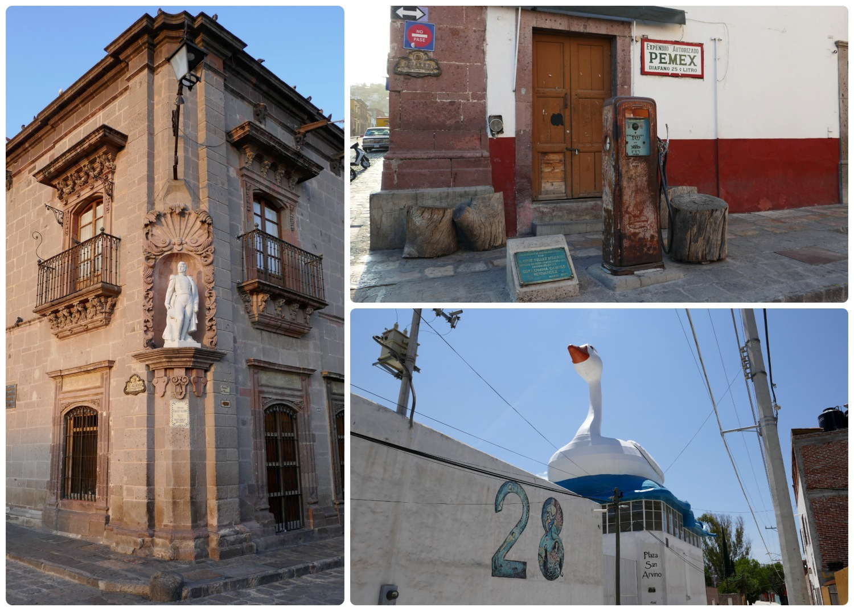 San Miguel de Allende, Mexico.Clockwise from the left:Historic Museum of San Miguel de Allende,Bomba de Gasolina is a historic gas pump,Plaza San Arvino and the controversial San Miguel de Allende Goose.