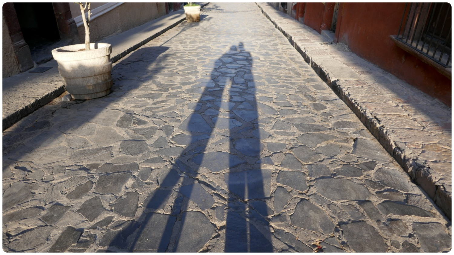"""Our shadows on a cobblestone street in San Miguel de Allende, Mexico. Shannon - """"So romantic!"""" Sergio -"""" We're doing this pic again?"""""""