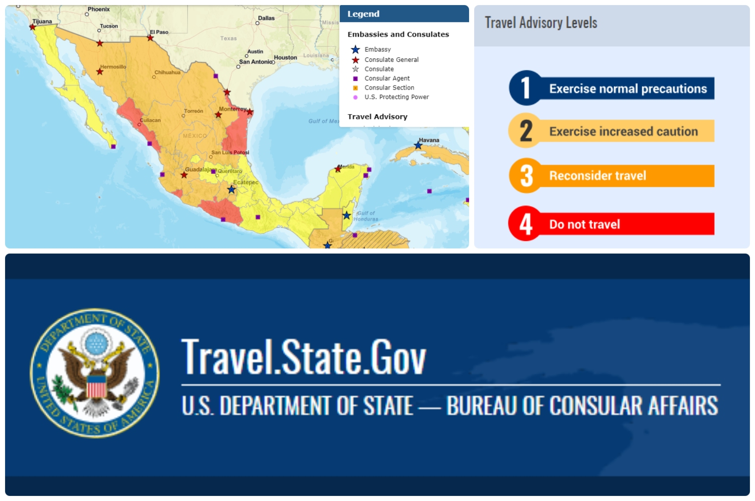 Visit the US Department of State website for a map and detailed travel warnings and safety information.
