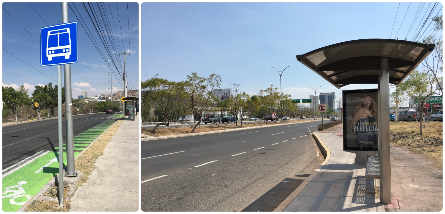 Bus stops in Santiago de Queretaro, Mexico vary widely, from the modern and well signed stops in the images here, to no signage or benches at all.