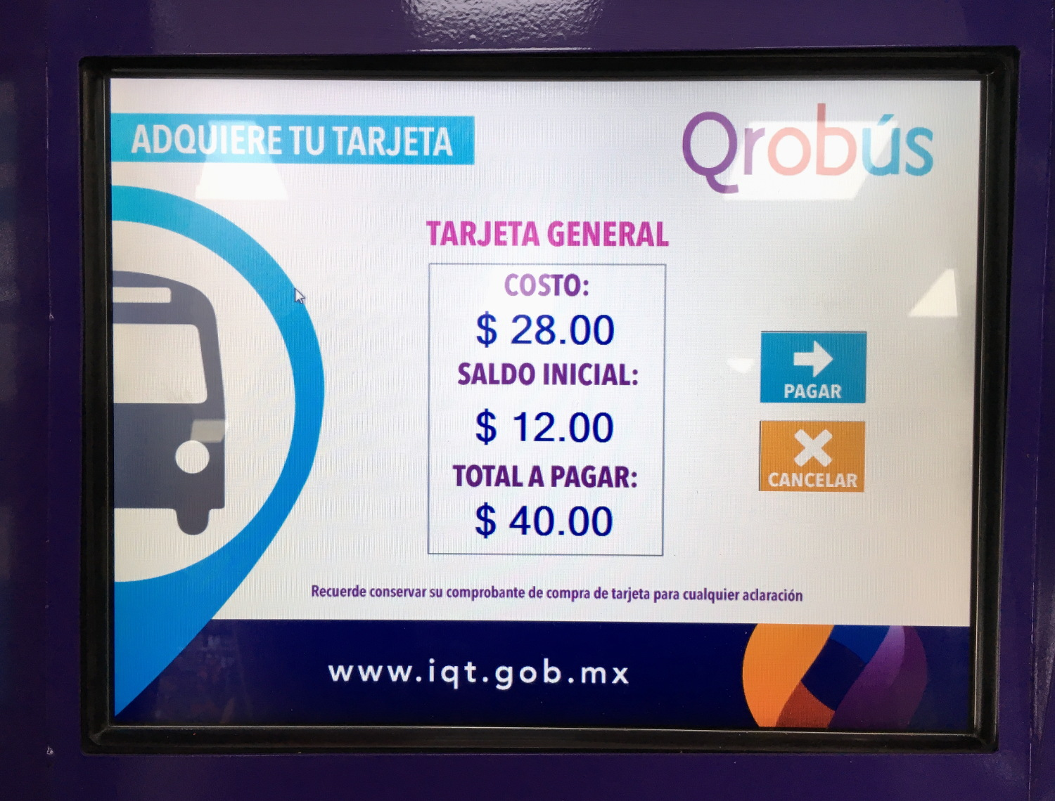 Before we could use public transportation in Santiago de Queretaro, Mexico, we needed needed to purchase a QROBus card. The transaction totaled $40 MXN per card, and came with $12 MXN preloaded on the card.