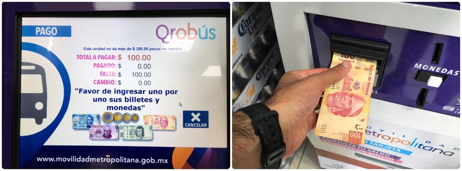 QROBus self service kiosks for purchasing and reloading cards only accept cash. Santiago de Queretaro, Mexico.
