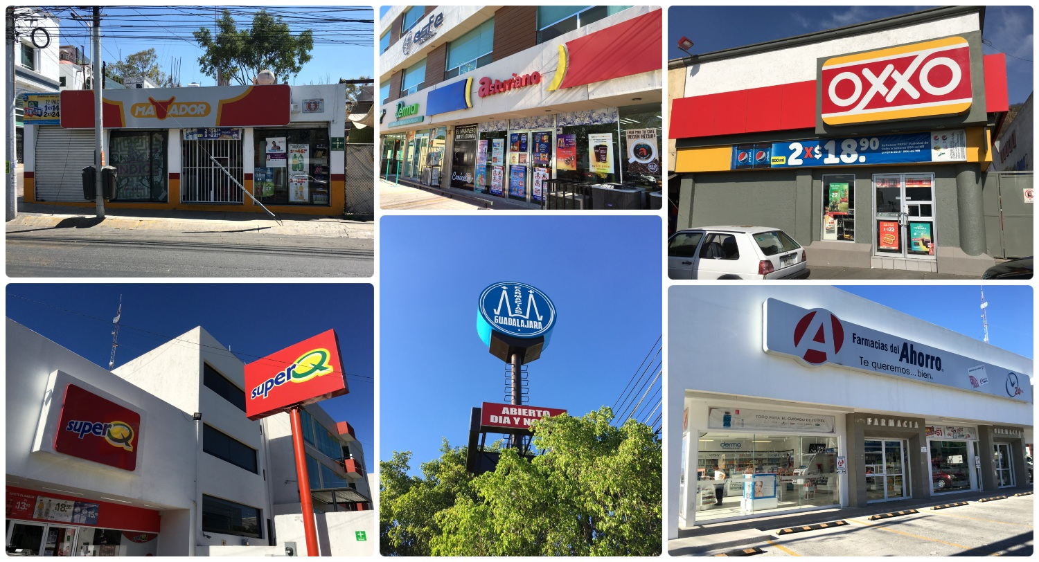 We purchased our Santiago de Queretaro, Mexico QROBus prepaid cards at an OXXO convenience store, but we saw machines to purchase and reload cards at convenience stores and pharmacies all over the city. Clockwise (from the top left): Matador, Asturiano, OXXO, Ahorro, Guadalajara, Super Q.