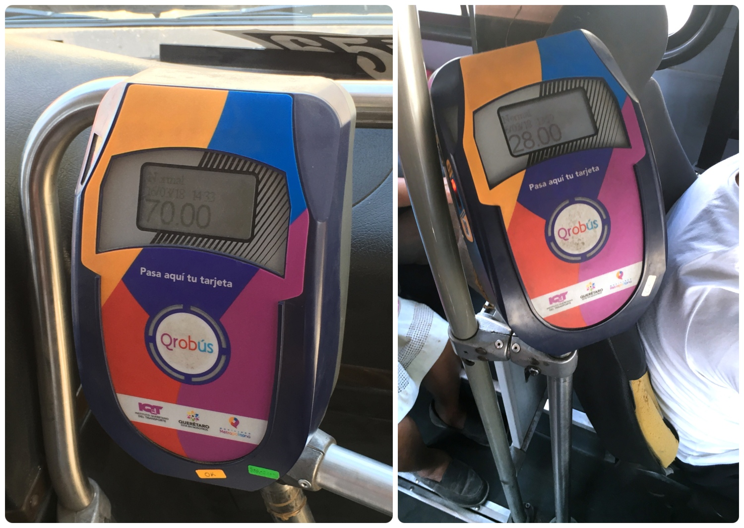 QROBus prepaid card RFID readers are located at the front of the bus, either next to the driver's seat or by the dashboard.