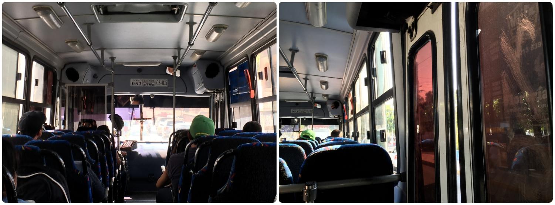 On-board a bus in Santiago de Queretaro, Mexico.
