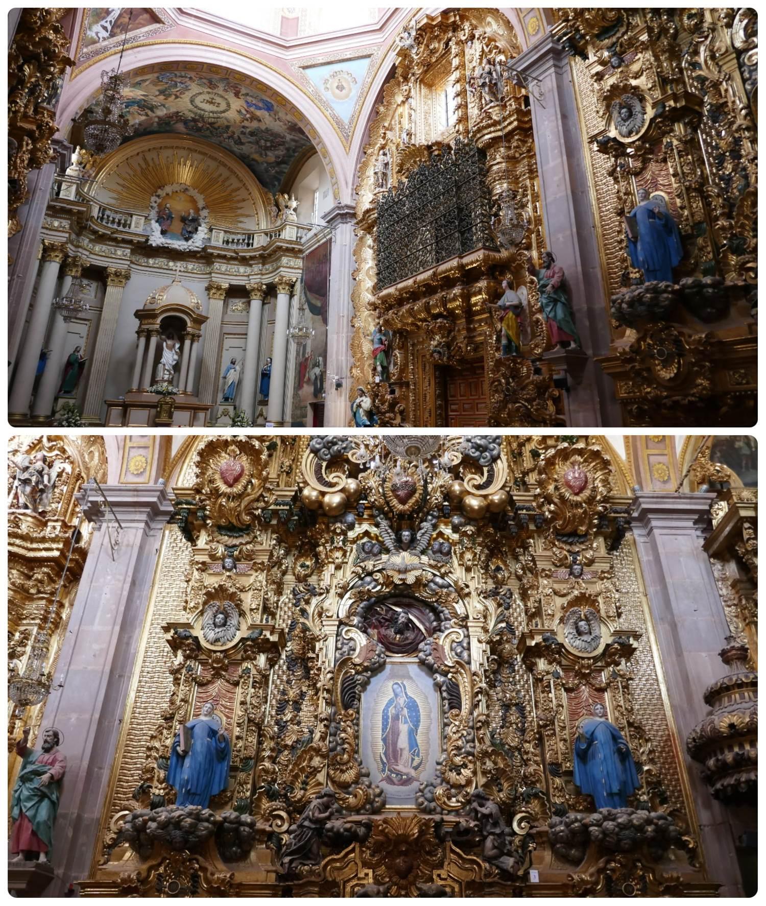 Interior of Parroquia del Sagrado Corazon de Jesus - Templo de Santa Clara, Santiago de Queretaro, Mexico.
