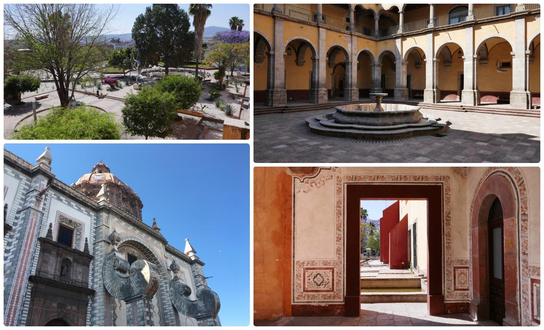 Templo de Santa Rosa de Viterbo and the Center of Arts of Queretaro (CEART) in Santiago de Queretaro, Mexico. Don't miss the gardens, the courtyards, and the beautiful detailed architecture!