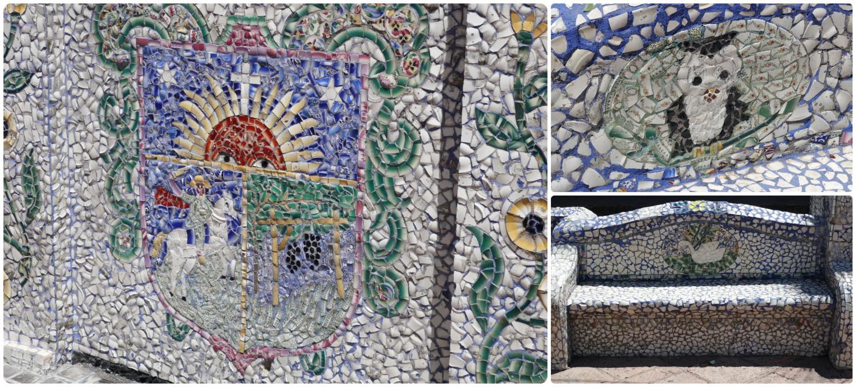 Jardin de los Platitos (Garden of the Little Plates) in Santiago de Queretaro, Mexico. Up-close detail of the tile work.
