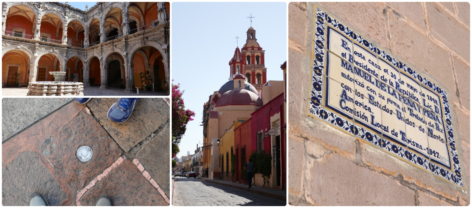 Sightseeing in Santiago de Queretaro, Mexico. Clockwise (from the top left): Courtyard of the Museo de Arte, view of Templo de Santo Domingo from Calle José María Pino Suárez, the tiled sign indicating the location of the signing of the 1947 treaty from the Mexican-American War.