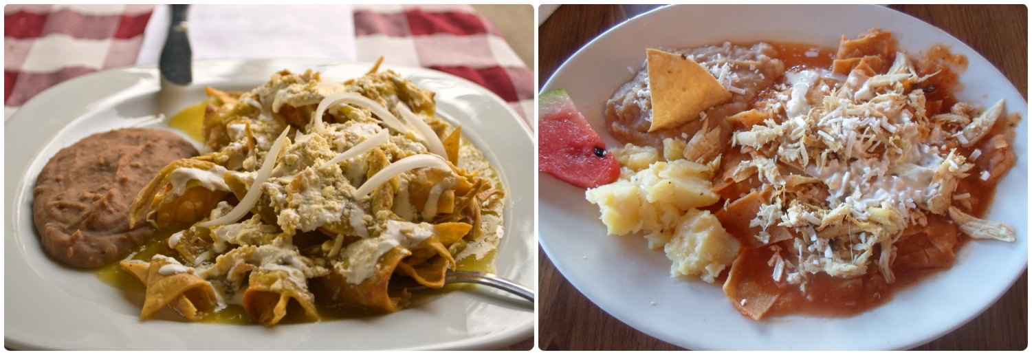Green chilaquiles are on the left  ( image credit ) and red chilaquiles are on the right  ( image credit ) .
