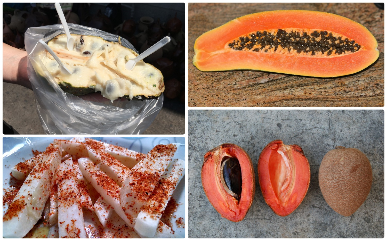 Clockwise (from the top left): Guanabana purchased from a tianguis (street market), a papaya, a mamey, jicama with chili powder.