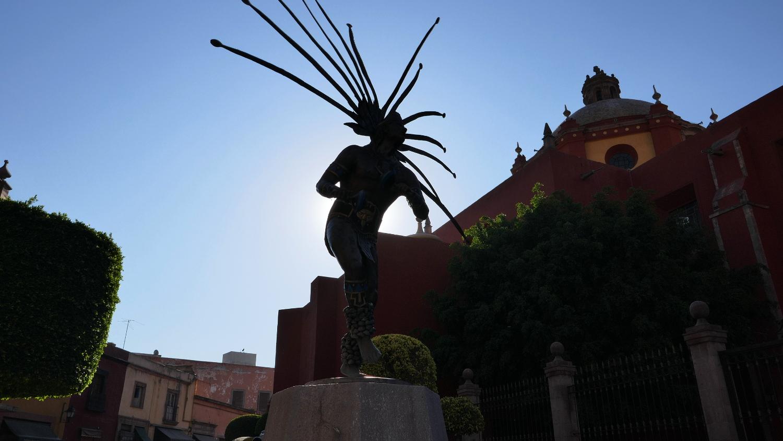 El Danzante Conchero Chichimeca Sculpture, Santiago de Queretaro, Queretaro, Mexico