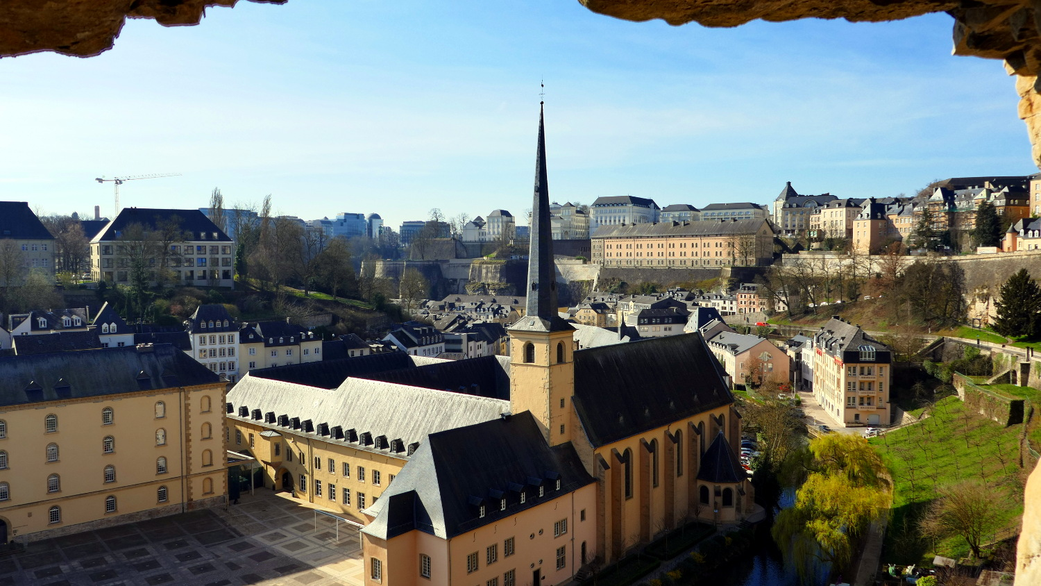 A view of Luxembourg, Luxembourg from an opening within a Casemate.