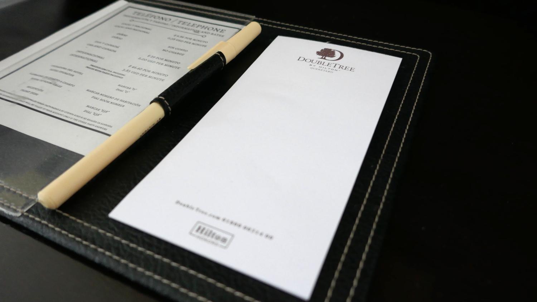 Hotel hacks paper pen pad write notes