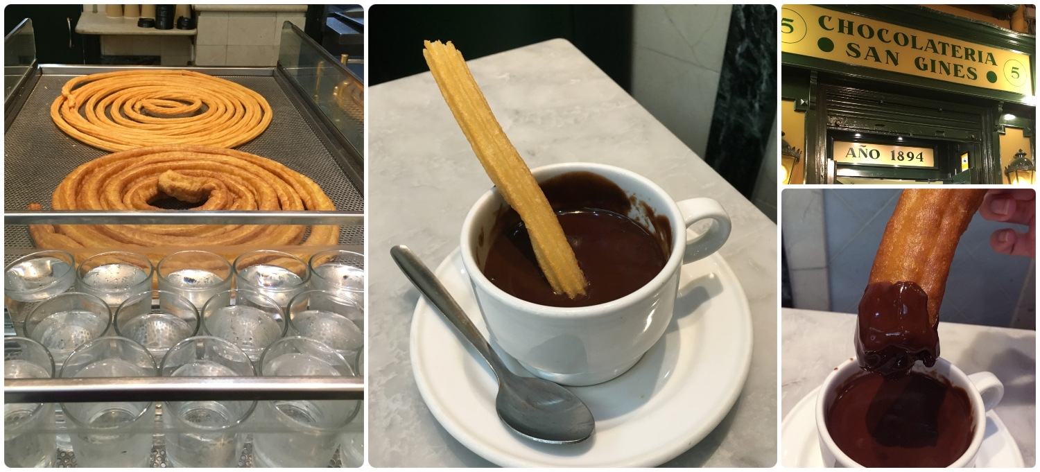 Madrid Spain Churros Chocolate Porras breakfast snack late night san gines chocolateria traditional food classic must eat visit tourist best