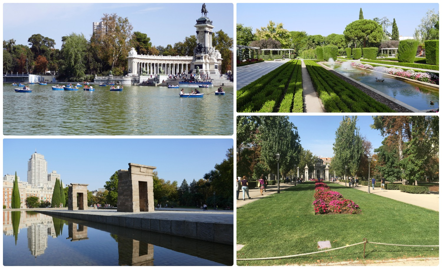 Madrid Spain Parks and Gardens way of life Temple of Debod El Retiro Park Leisure