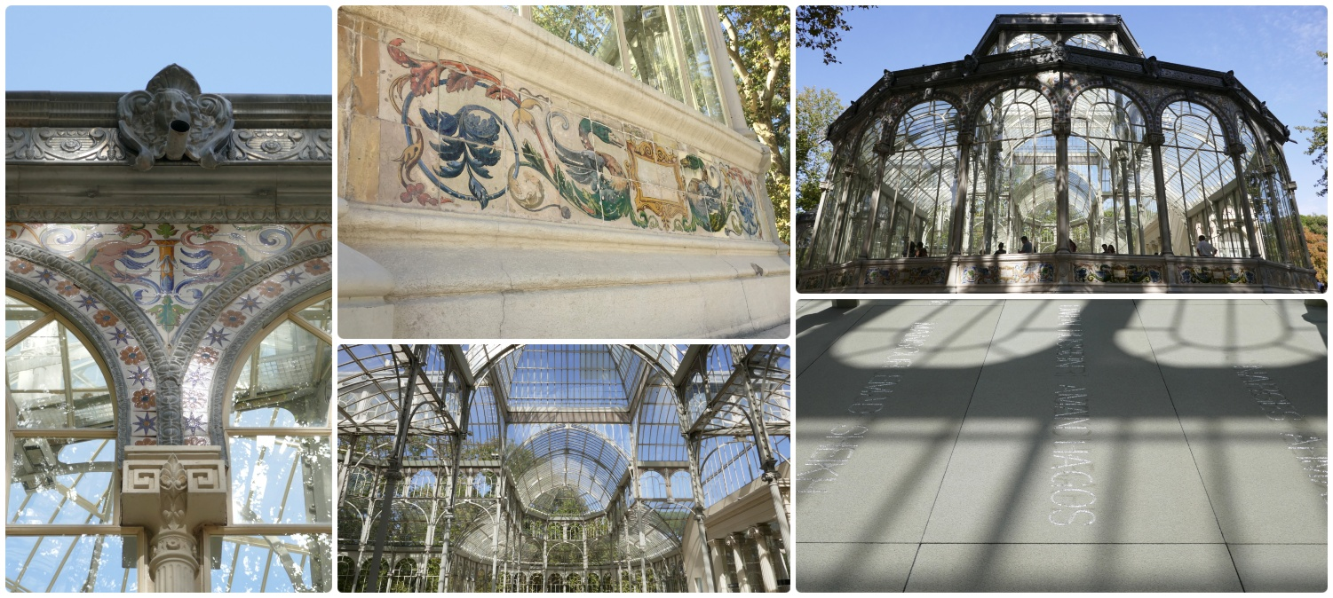 Crystal Palace (Palacio de Cristal) in El Retiro Park, Madrid, Spain.