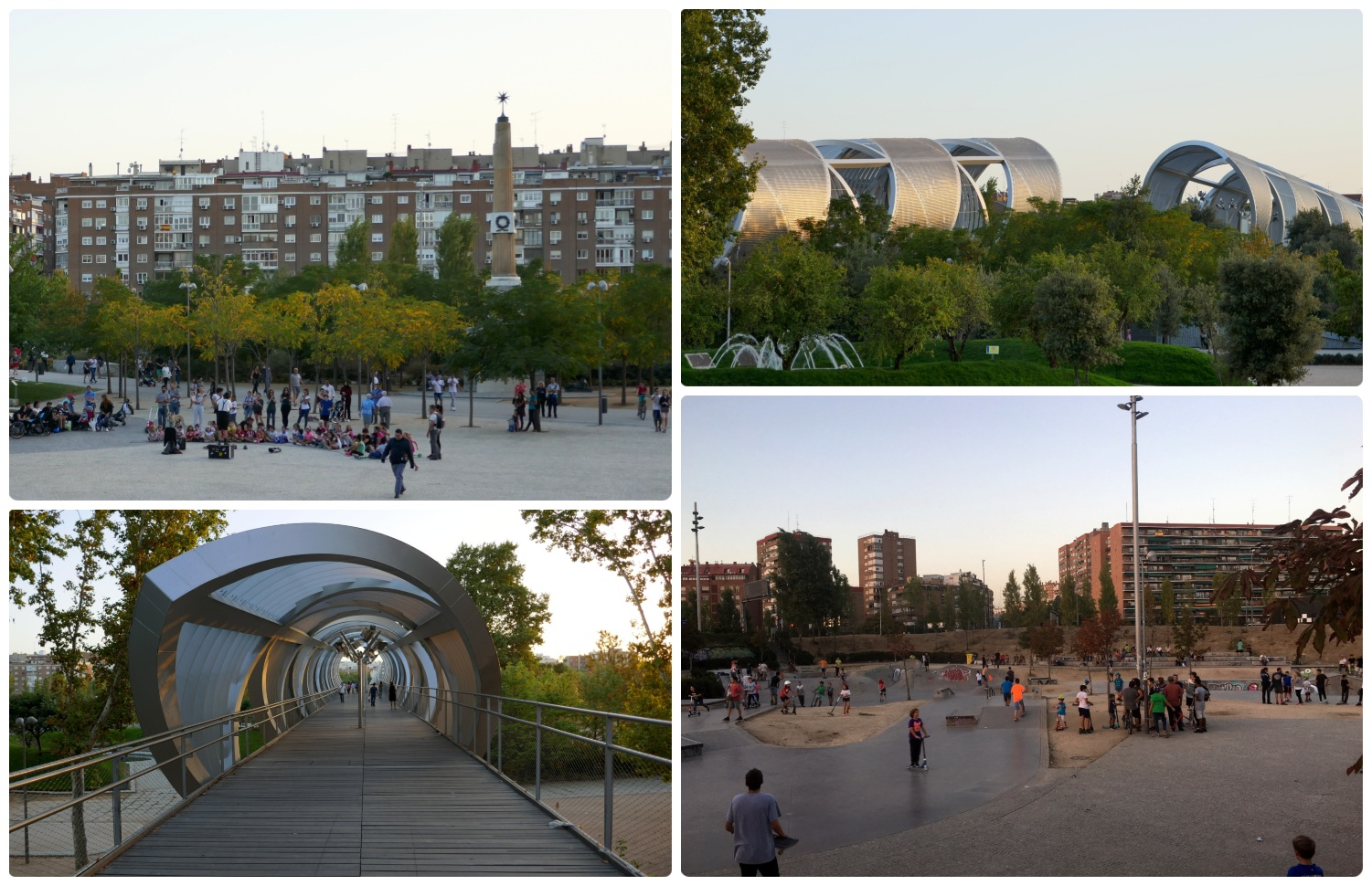 Recreational areas, a plaza, and Puente de Arganzuela in Madrid Rio Park, Madrid, Spain.