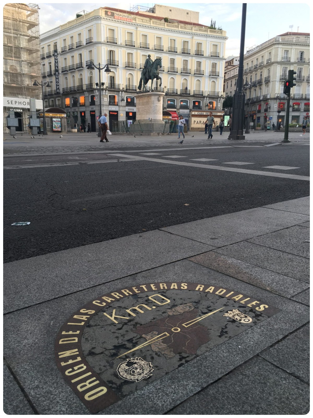 Kilometer Zero in Puerta del Sol, Madrid, Spain.