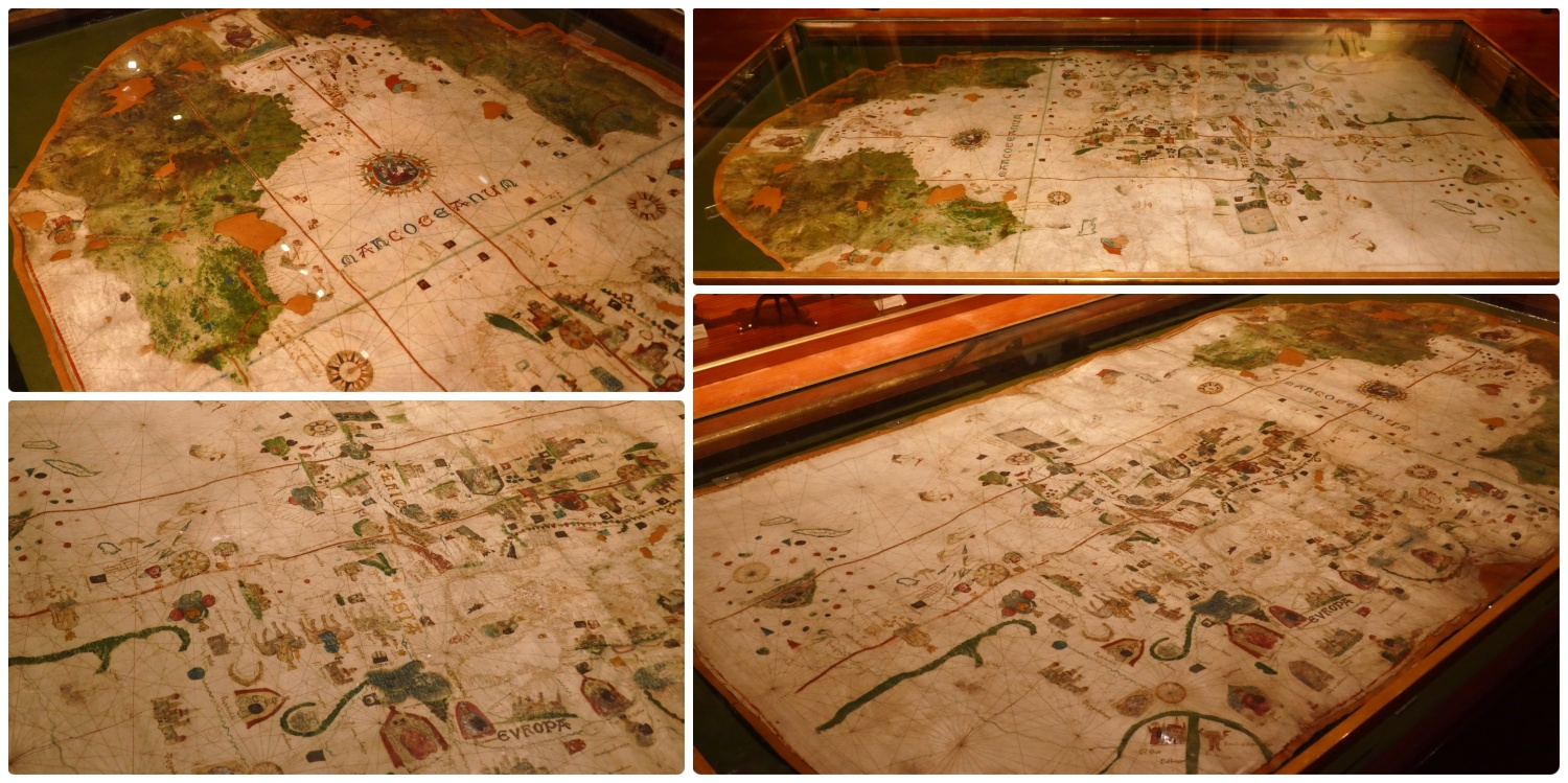 Map of Juan de la Cosa in the Maritime Museum (Museo Naval) of Madrid, Spain. This map is the earliest undisputed representation of the Americas (1500).