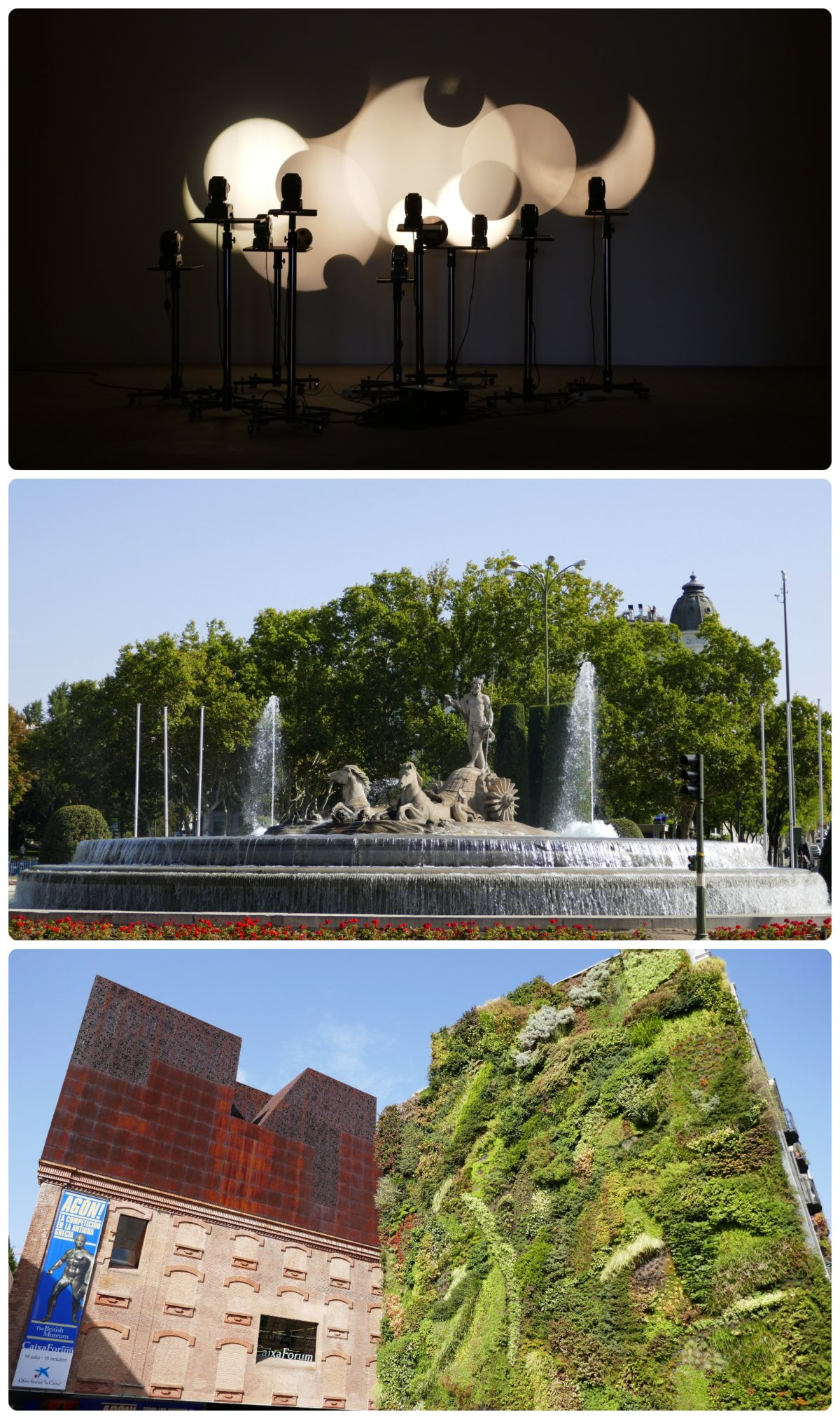 Madrid, Spain. Top to bottom: Promotion of Art (Tabacalera Promoción del Arte), Neptune Fountain (Fuente de Neptuno), Vertical Garden in CaixaForum (Jardín Vertical CaixaForum).