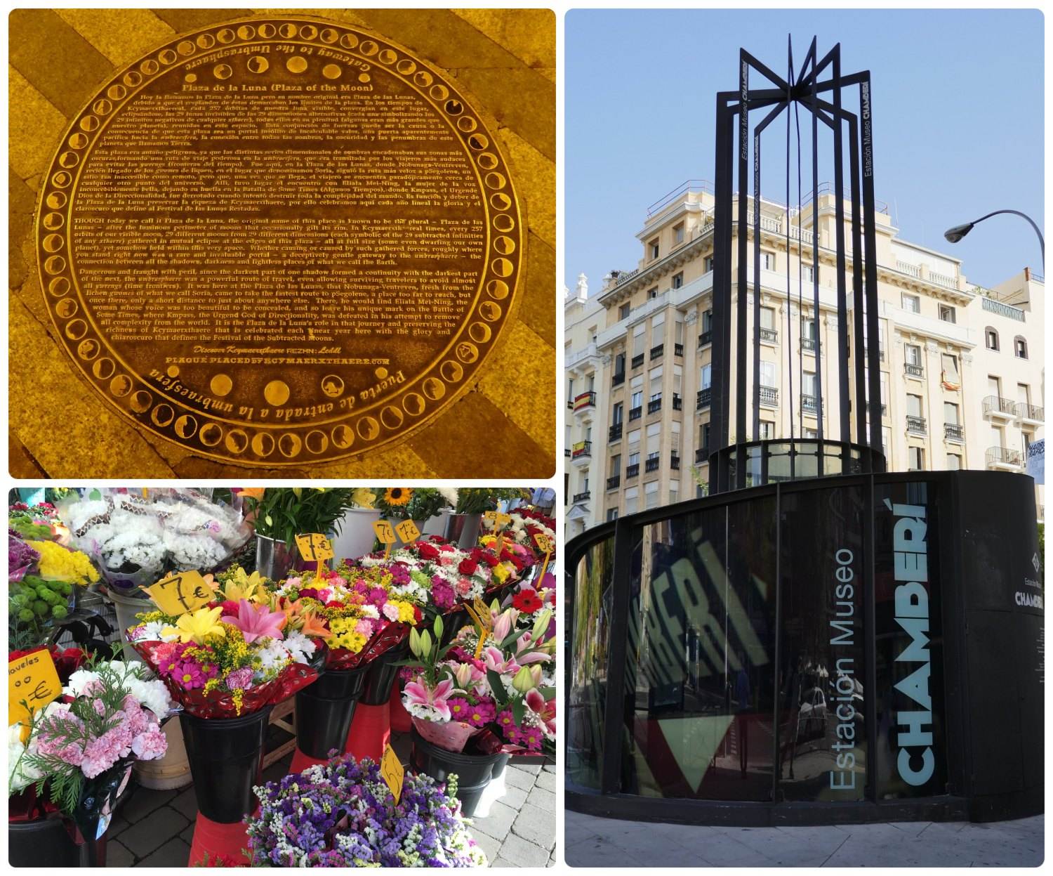 Madrid, Spain. Clockwise (from the top left): Plaza de la Luna, Chamberi Station Museum (Estacion Museo Chamberi), flowers for sale at a street stand.
