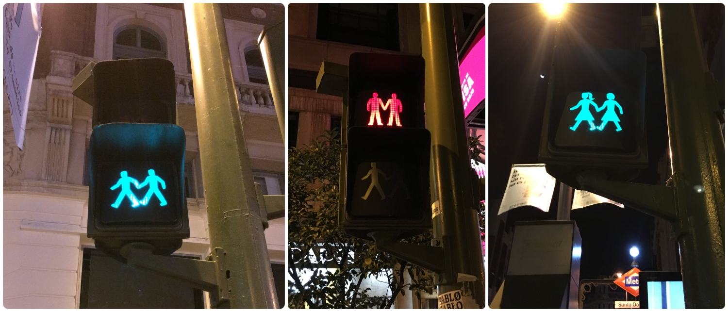 Madrid, Spain is welcoming, even in the small details like the crosswalk men and women lights!