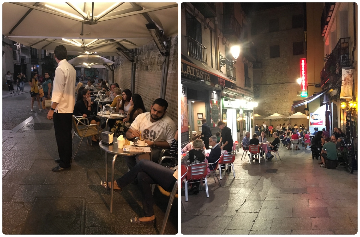 The night was just starting in Madrid, Spain when we made our way to Chocolateria San Gines for churros, porras, and hot chocolate. There was seating outside, but it was full (left image), and the narrow street leading to Chocolateria San Gines was full of people enjoying the evening (right image).